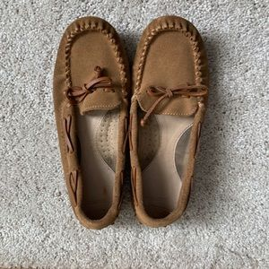 Lands' End women's brown leather slippers- 7.